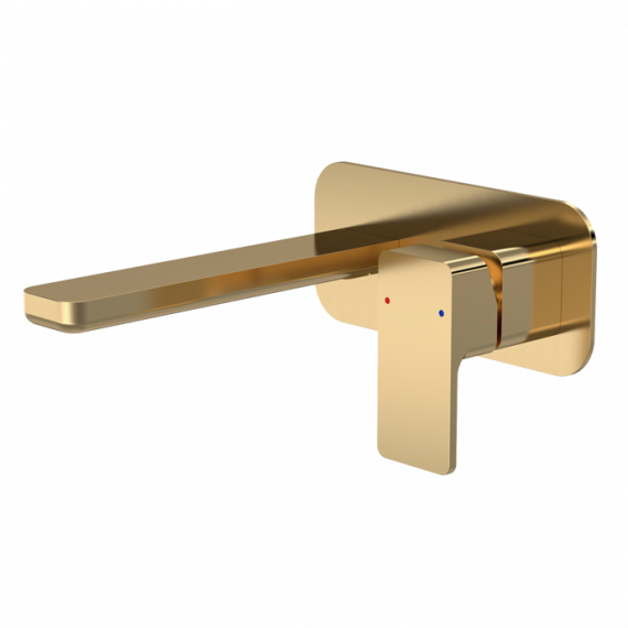 Nuie Windon Wall Mounted 2 Tap Hole Basin Mixer & Plate Brushed Brass WIN828