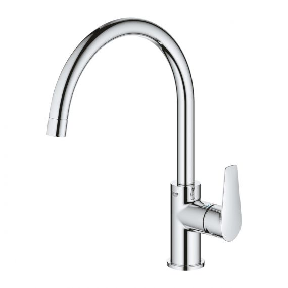 Grohe BauEdge Single Lever Kitchen Sink Mixer Tap Chrome 31367001